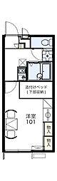 レオパレス甲田 2階1Kの間取り