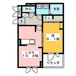 コンテ ソレイユ 3階1LDKの間取り