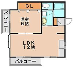 福岡県大野城市乙金台1丁目の賃貸アパートの間取り