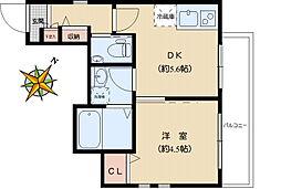 La Maison 091 2階1DKの間取り