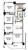 2階部分南西角住戸、3SLDK、全居室収納付