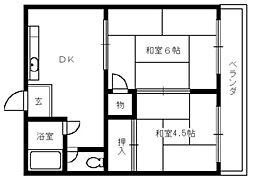 大阪府堺市堺区石津町1丁の賃貸アパートの間取り