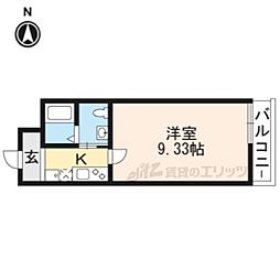 阪急京都本線 西院駅 徒歩6分の賃貸マンション 3階1Kの間取り