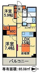 東京メトロ日比谷線 南千住駅 徒歩5分の賃貸マンション 19階1SLDKの間取り