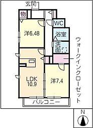 PRONUBE HOUCHI[1階]の間取り
