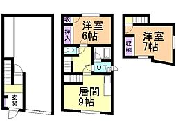 新川町14番戸建 1階2LDKの間取り