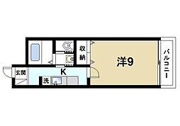 LA RIVIERE OKAMOTO 2階1Kの間取り