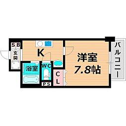 京阪本線 野江駅 徒歩8分の賃貸マンション 5階1Kの間取り