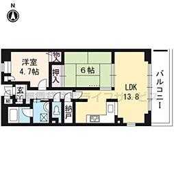 ベルクローチェ京都sta206[2階]の間取り