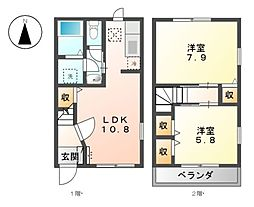 愛知県あま市木田徳左の賃貸アパートの間取り