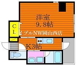 仮称 三門東町マンション 6階1Kの間取り