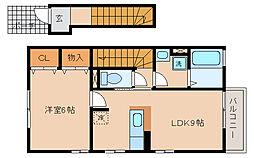 兵庫県神戸市北区鈴蘭台西町3丁目の賃貸アパートの間取り