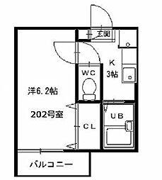 JR中央本線 国立駅 徒歩11分の賃貸アパート 2階1Kの間取り