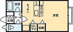 DIコーポメビウスC棟 1階ワンルームの間取り
