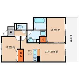 奈良県桜井市阿部の賃貸アパートの間取り