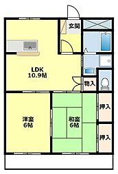 愛知県豊田市志賀町下番戸の賃貸アパートの間取り