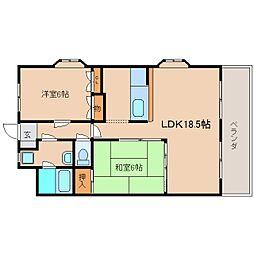 奈良県奈良市学園大和町2丁目の賃貸マンションの間取り