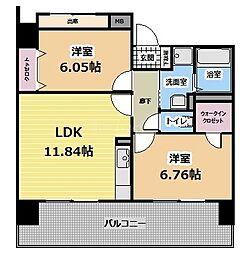 福岡県福岡市東区二又瀬の賃貸マンションの間取り