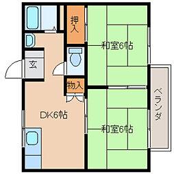 奈良県大和高田市土庫の賃貸アパートの間取り