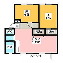 サンビレッジ光陽台七番館[2階]の間取り
