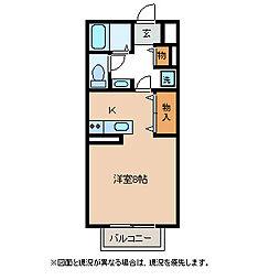 JR篠ノ井線 塩尻駅 徒歩29分の賃貸アパート 2階ワンルームの間取り