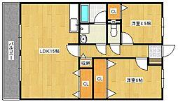 サンフラワー津福[3階]の間取り