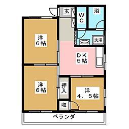ハイツ富沢[1階]の間取り