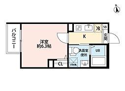 T.A矢田東 1階1Kの間取り