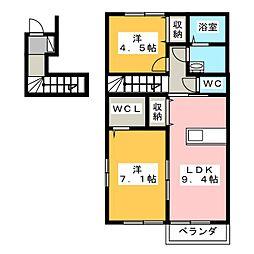 グランティアラD[2階]の間取り