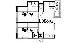 兵庫県伊丹市北野5丁目の賃貸アパートの間取り