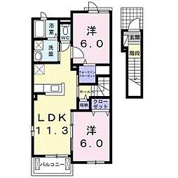 JR吉備線 備前一宮駅 徒歩19分の賃貸アパート 2階2LDKの間取り