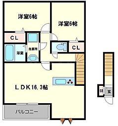 ハイツ第三寺新 2階2LDKの間取り