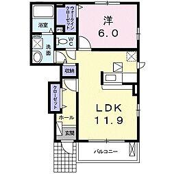 JR山陽本線 庭瀬駅 徒歩37分の賃貸アパート 1階1LDKの間取り