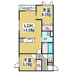 ジェラン拓勇ノース[2階]の間取り