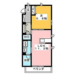 ハリアーナ鎌倉 1階1LDKの間取り