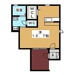 メゾンみやまII 1階ワンルームの間取り