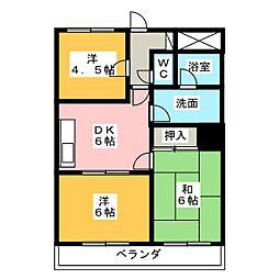 ハピネス関[3階]の間取り