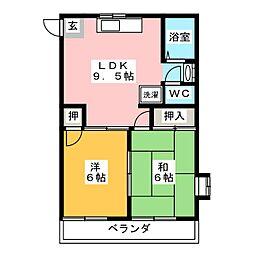 アーバンハウス 1階2LDKの間取り