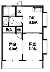 神奈川県藤沢市亀井野の賃貸アパートの間取り