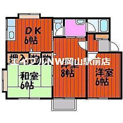 岡山県岡山市中区国府市場丁目なしの賃貸アパートの間取り