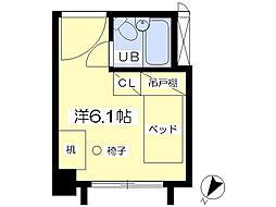八木山スカイパンション 3階ワンルームの間取り
