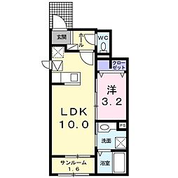 JR常磐線 神立駅 バス6分 工業団地北下車 徒歩5分の賃貸アパート 1階1LDKの間取り
