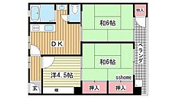 六甲ロイヤルマンション[2B号室]の間取り