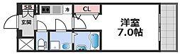 エスプレイス大阪城サウスコンフォート 8階1Kの間取り
