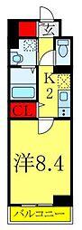 東京メトロ南北線 西ヶ原駅 徒歩9分の賃貸マンション 2階1Kの間取り