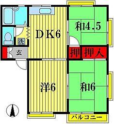 グリーンハイツオカダ E[1階]の間取り