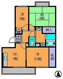 奈良県生駒市小瀬町の賃貸マンションの間取り