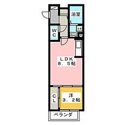 Evergreen Residence 2階1LDKの間取り