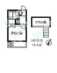 東京都品川区荏原4丁目の賃貸アパートの間取り