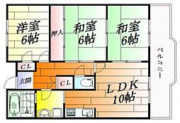 グラチエ千里[1階]の間取り